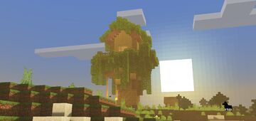 Tree House With Beach And Village Minecraft Map & Project