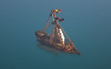 """Medieval Ship   Small Galley """"Jasmin"""" Minecraft Map & Project"""
