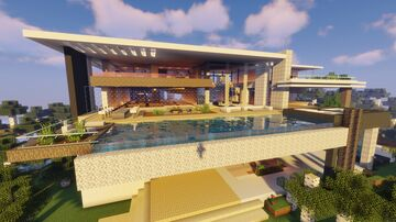 Awesome Modern Mansion / Big Modern House Minecraft Map & Project