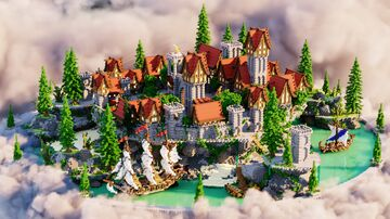 Castle Hub ❯ Cute Little Town Minecraft Map & Project