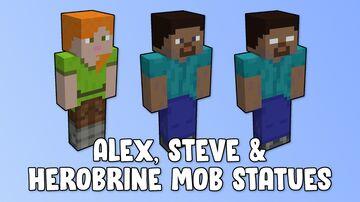 Alex, Steve & Herobrine Mob Statues Minecraft Map & Project