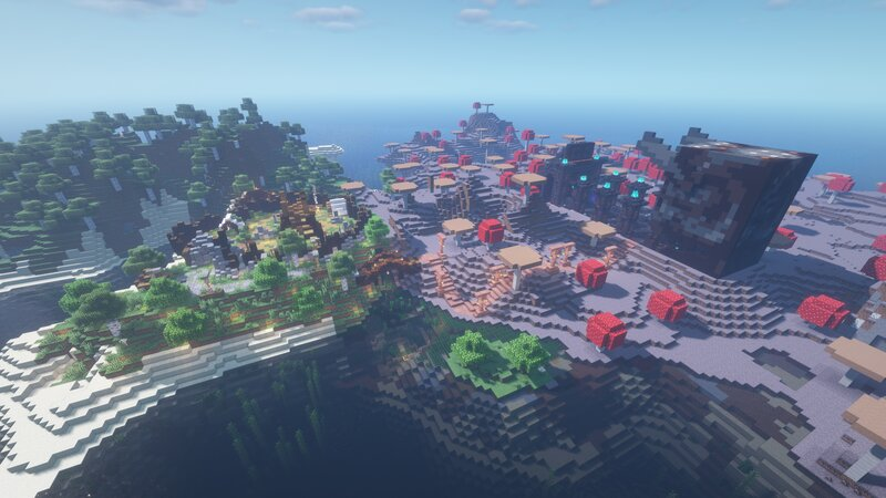 A Birdseye View of the Decked Out Island, along with the Paintball Minigame