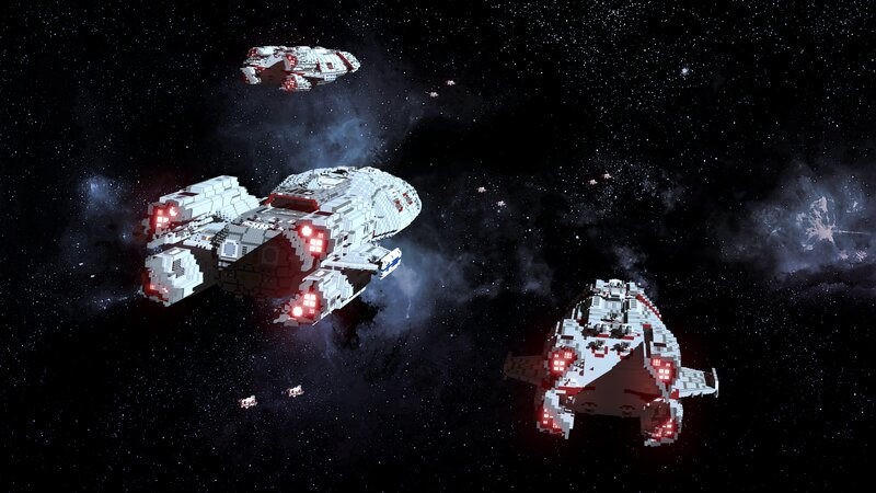 Ships and fighters from Arx's Planetary Defense Fleet on patrol Render Credit Skallord