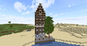 Realistic Amsterdam canalhouse 100% vanilla + Download Minecraft Map & Project