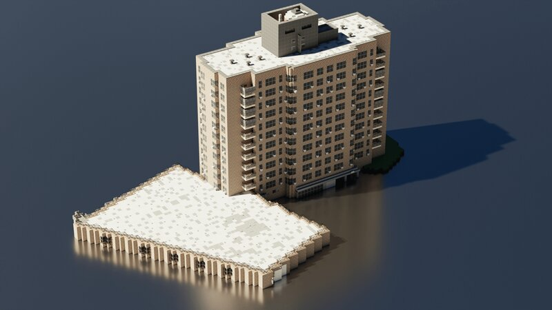 Isometric view showing off the parking garage