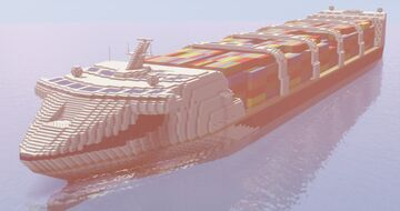 Mega Shipper | Container ship [1:1 - Fictional - Amberstone pack] Minecraft Map & Project