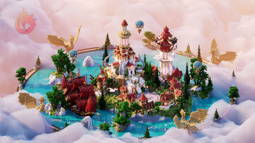 ♥ FANTASY RED SPAWN/LOBBY 🏰 Minecraft Map & Project