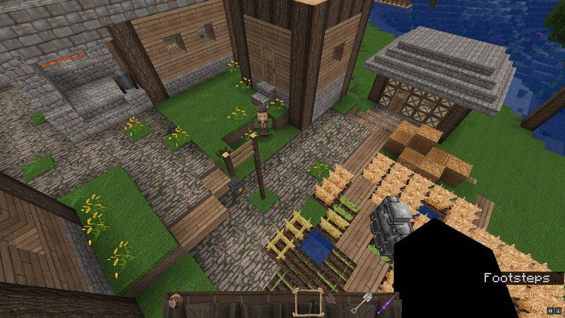 A small farm and library and blacksmith's shop