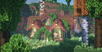 Overgrown fairytale cottage 💐🌿👒 Minecraft Map & Project