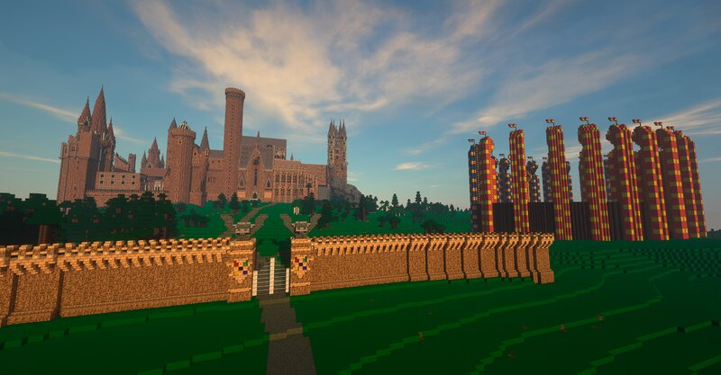 Towers Left to Right - Ravenclaw Tower with turrets for dorms, Library Tower, West Tower - Owlery, Locked Tower, Astronomy Tower, Gryffindor Tower