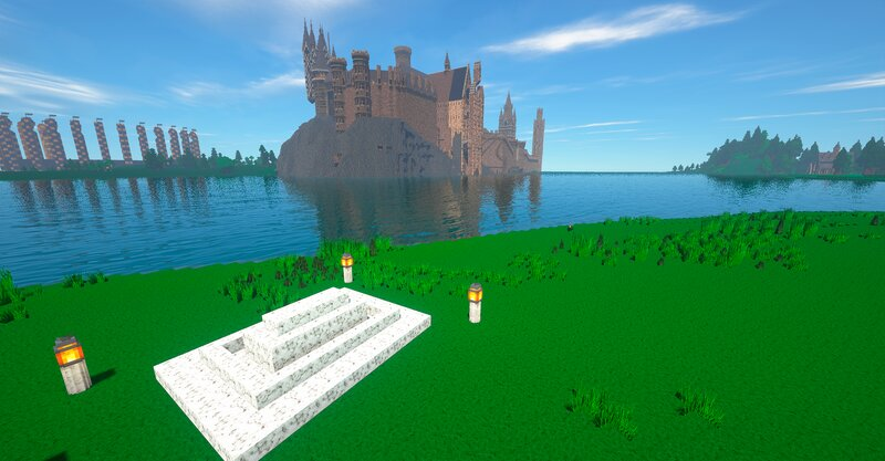 The White Tomb, Lake, Quidditch Pitch, Castle and Train Station boathouse at right