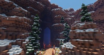 A Dwarven Gate Carved Into a Snowy Red Cliff Minecraft Map & Project
