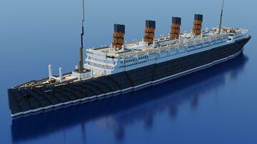 RMS Aquitania 1914 1:1 Exterior Only (Bedrock+Java) Minecraft Map & Project