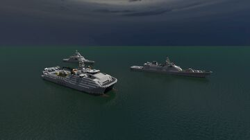 Expeditionary fast transport X-251, Frigate K-514, Corvette HT-314 Minecraft Map & Project