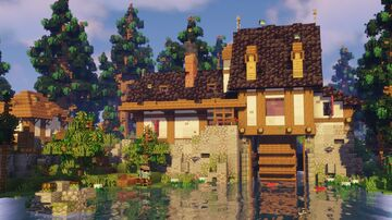 Medieval Half-Timbered Water Mill Minecraft Map & Project
