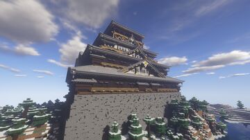 A giant Japanese castle, standing alone in a vast snowy region Minecraft Map & Project