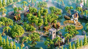 Hub - Lobby ❯ Little Town ❯ Surrounded with waterfall Minecraft Map & Project
