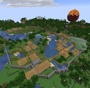 modern village with train station 1.17 V2 Minecraft Map & Project