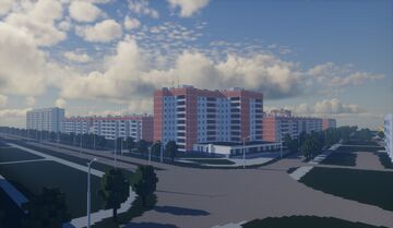 """the Soviet city of the 80s in Minecraft, a fictional satellite city of the Izransk nuclear power plant"""" Minecraft Map & Project"""