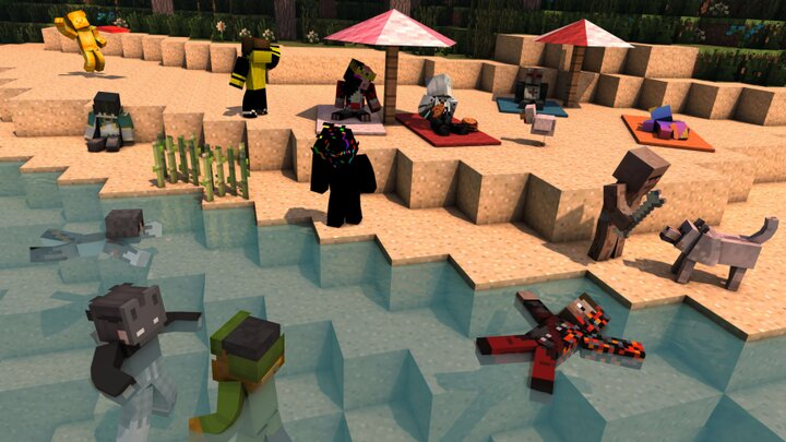 community-made rendering of Nether Anarchy players created by Bechtle, pictured floating on his back in bottom right