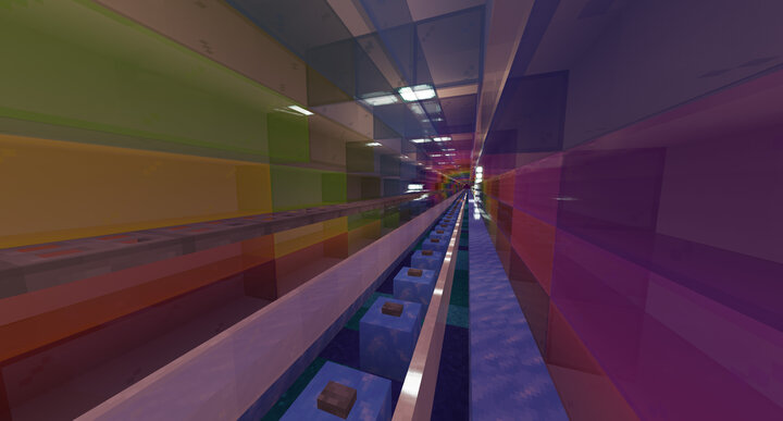 Rainbow Road 2.0, our main 4-directional nether highway on the server.