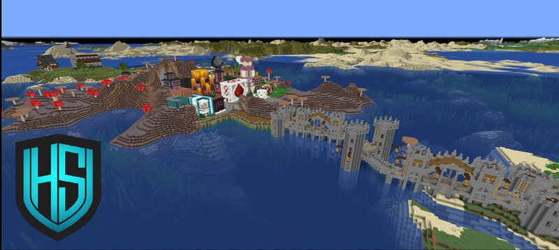 Spawn island on top left, shopping district in the middle, bridge to minigame island on right