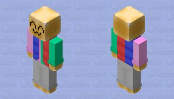 """Cute Face with Duel Color Vest: (Honestly I have no idea what to call this. I typically don't make """"cute"""" things. But after making the vest and cutsie face, I couldn't delete it. Hope you enjoy.) Minecraft Skin"""