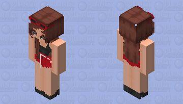 Red & Black Brunette Girl Minecraft Skin