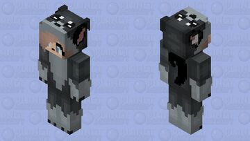 FuntimeWolfy112 in a wolfy onesie (lol i messed up and left a little thing in her ear LOL oops) Minecraft Skin