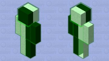 Green Glowing Black and White Minecraft Skin