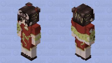 New year dragon/ Chinese New Year/ red/ yellow/ dragon/ girl Minecraft Skin