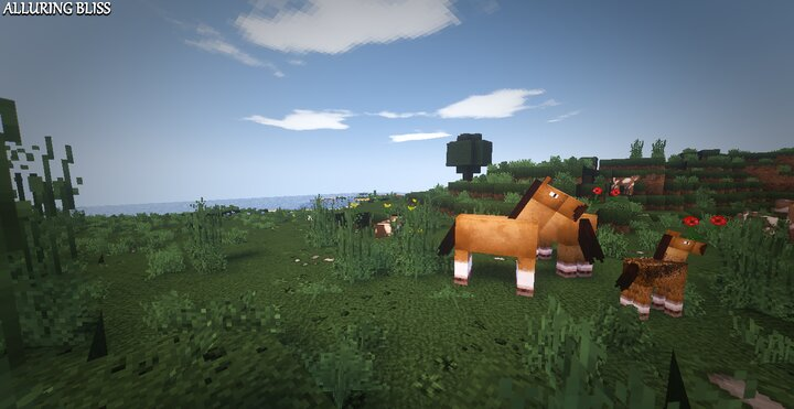Plains Biome with horses with AlluringBliss and Shaders