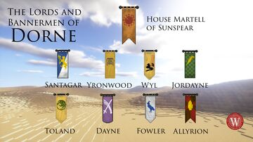 Westeroscraft - Banner Textures of the Lords and Bannermen of Dorne Minecraft Texture Pack