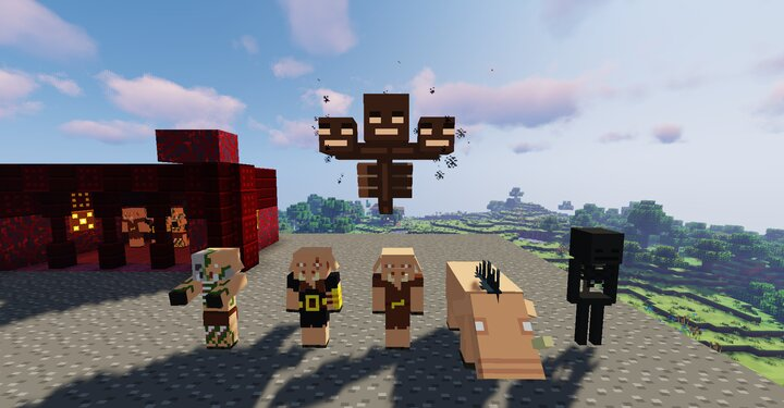 Piglins, Wither, Wither Skeleton, and Hoglin