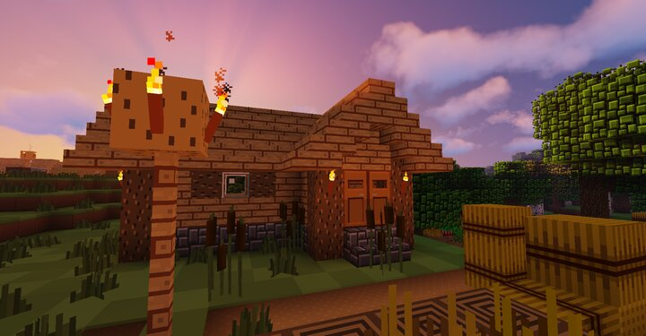 A Village House at Sunset