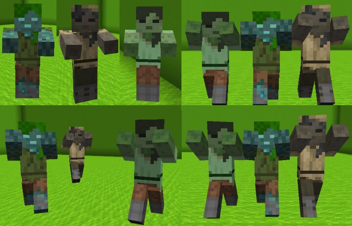 The Zombie Undead variants. Drowned, Husk and Zombie Alex.