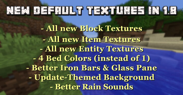 In 1.14 many Default Textures were updated. This Pack brings all new Textures and more Features into 1.8!