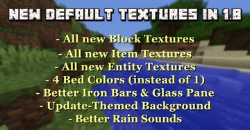New 1.14 Default Textures in 1.8.x  +  Better Beds, Iron Bars, Glass Pane, Rain Sounds, and more... Minecraft Texture Pack