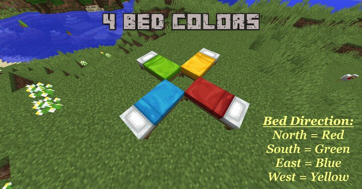 In 1.8 there's only the red bed color. This Pack adds 3 more Colors