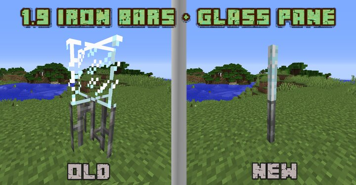 In 1.9 the models of Iron Bars and Glass Pane were updated. This Pack brings the new models into 1.8