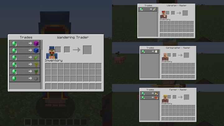 The Villager and Wandering Trader UIs