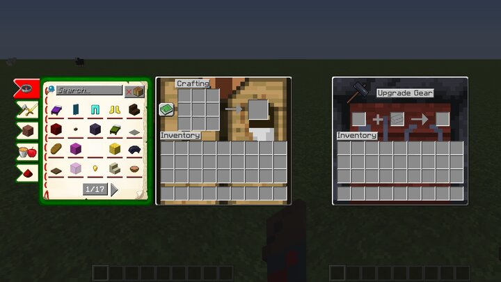 The Crafting Table and Smithing Table UIs