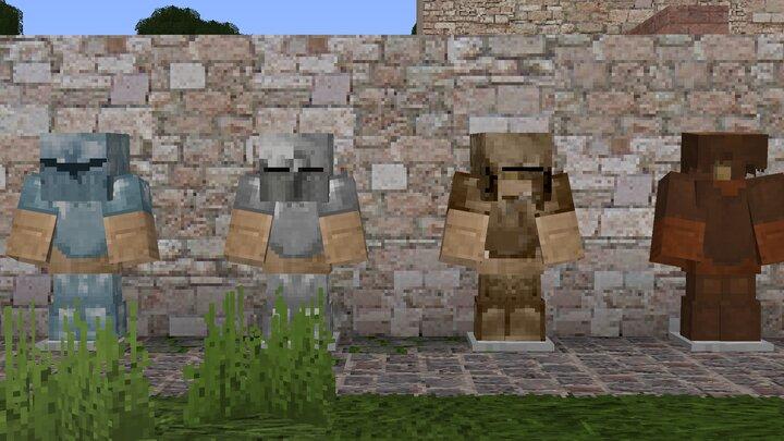 Diamond. iron, gold and leather armor