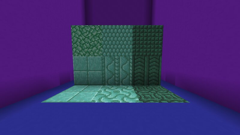 Block showcase, each new block is made by placing a double slab of the vanilla variant shown above it, e.g. Dark Prismarine Double Slab becomes Dark Prismarine Pillar