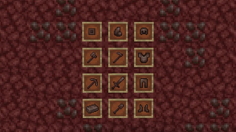 All modified items. The new Ancient Debris can be seen in the background.