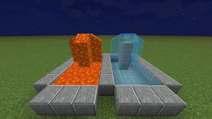 lava and water