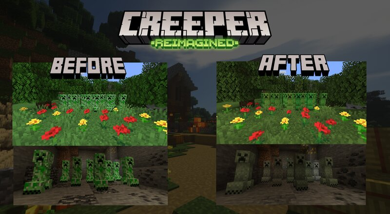The Creeper have now been Reimagined, will have different textures for how deep down it is, and will have randomized textures! No creepers are the same, equality for all!