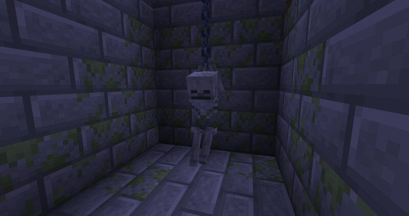 Hanging Skeleton placed in an invisible item frame