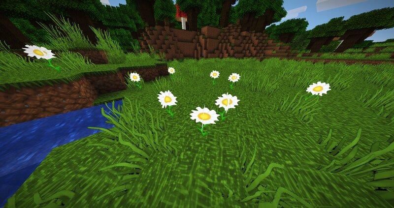 Flowery meadow near a body of water