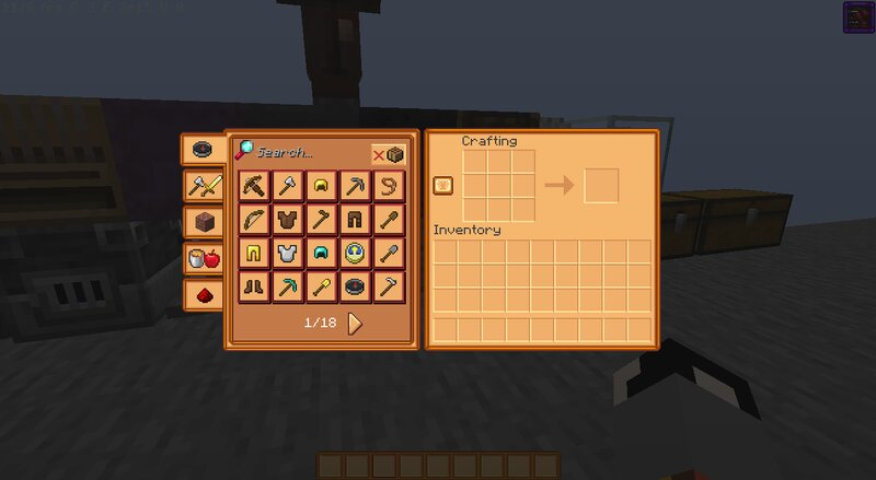 crafting table gui